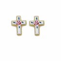 14K Gold Filled Cloisonne Cross Ear Post earrings