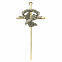 "7"" Gold Plated Brass Wall Cross with Fine Pewter Confirmed In Christ Dove"