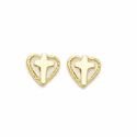 14K Gold Filled Hearts with Cross Ear Post Earrings