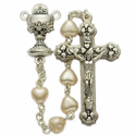 5mm White Heart Pearl Beads and Chalice Center Rosary
