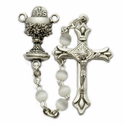 4mm White Pearl Beads and Chalice Center Rosary