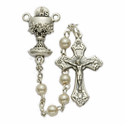 4mm Pearl Beads and Chalice Center Rosary