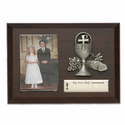 "5""x7"" Boy and Girl Wood Plaque with Fine Pewter Communion Chalice"