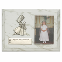 "5"" x 7"" Communion Girl Wood Plaque with Praying Girl Fine Pewter Casting"