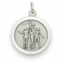 Girls Sports Sterling Silver Medals with Cross on Back