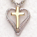 "Sterling Silver Filagree Heart/Gold Cross On 18"" Chain"