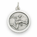 """Sterling Silver Soccer Player Medal with Cross on Back on 20"""" Chain"""