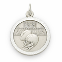 "Sterling Silver Boy's Footbal Medal with Cross on Back on 20"" Chain"