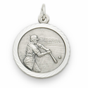 "Sterling Silver Boy'sBaseball Player Medal with Cross on Back on 20"" Chain"
