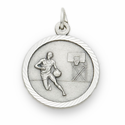 "Sterling Silver Boy's Basketball Player Medal with Cross on Back on 20"" Chain"