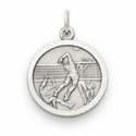 "Sterling Silver Boy's Volleyball Player Medal with Cross on Back on 20"" Chain"