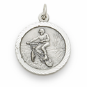 "Sterling Silver Boy's Off Road Bike Medal with Cross on Back on 20"" Chain"