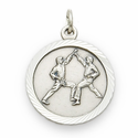 "Sterling Silver Boy's Karate Medal with Cross on Back on 20"" Chain"