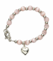 4mm Pink Pearl Beads Baby Bracelet with Heart Charm