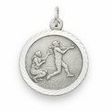 "Sterling Silver Girls Softball Player Medal with Cross on Back on 18"" Chain"