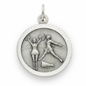 "Sterling Silver Girl's Cheerleading Medal with Cross on Back on 18"" Chain"