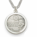 Sterling Silver Swimming Medal, St. Christopher on Back