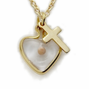 "14K Gold Filled Heart with Mustard Seed and Cross on 18"" Chain"