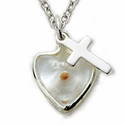 "Sterling Silver Heart with Mustard Seed and Cross on 18"" Chain"