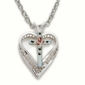 "Sterling Silver Heart Necklace in a Enameled Centered Rose Cross Design on 18"" Chain"