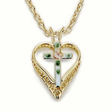 "14K Gold over Sterling Silver  Filagree Heart with Cloisonee Cross on 18"" Chain"