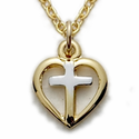 "Sterling Silver 14K Gold Finish Two Tone Heart/Silver Cross on 16"" Chain"