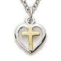 "Sterling Silver 2-Tone Heart Necklace in a Centered Cross Design on 16"" Chain"