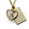 "Sterling Silver 14K Gold Plated Heart with Mustard Seed  and Passage Plate on 18"" Chain"