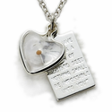 "Sterling Silver Heart with Mustard Seed and Mustard Seed Prayer Passage Plate on 18"" Chain"