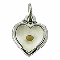 Sterling Silver Heart Necklace with Centered Mustard Seed