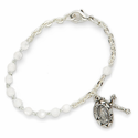 4mm White Pearl Beads Bracelet with Miraculous and Crucifix Charms