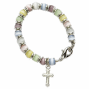4mm Multi-Color Pearl Beads Baby Bracelet with Cross Charm
