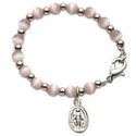 4mm Pink Pearl Beads Baby Bracelet with Miraculous Charm