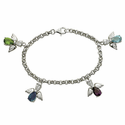 Sterling Silver  Bracelet w/  Angel Charms & Crystal CZ Stones