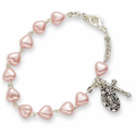 3mm Heart Shaped Pink Pearl Beads Bracelets with Miraculous and Cross Charms