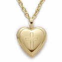 "14K Gold Finish Sterling Silver Heart Locket with Engraved Cross on 18"" Chain"