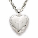 "Sterling Silver Heart Locket  with Engraved Cross on 18"" Chain"