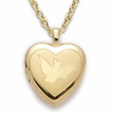 "Sterling Silver 14K Gold Finished Engraved Dove Heart Locket on 18"" Chain"