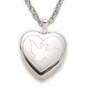 "Sterling Silver Rhodium Finish Heart Locket  with Etched Dove on 18"" Chain"