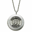Sterling Silver Polished St. Peregine Locket Necklace, Patron of Cancer