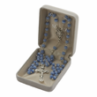 "7mm Crystal Blue ""Our Father""  Beads and Miraculous Center Rosary"