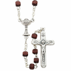 First Communion Boy's Brown Wood Rosary