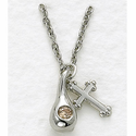 Sterling Silver Cross & November Birthstone Tears of Christ with Topaz Crystal