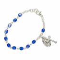 3mm September Sapphire Birthstone Rosary Beads Bracelet with Miraculous and Crucifix Charms