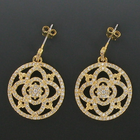 "7/8"" Round 24K Gold Plated CZ Pave Crystal Stone Earrings"