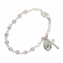 3mm June Alexandrite Birthstone Rosary Beads Bracelet with Miraculous and Crucifix Charms
