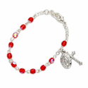 3mm July Ruby Birthstone Rosary Beads Bracelet with Miraculous and Crucifix Charms