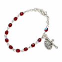 3mm January Garnet Birthstone Rosary Beads Bracelet  with Miraculous and Crucifix Charms