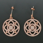 "7/8"" Round Rose Gold Plated CZ Pave Crystal Stone Earrings"