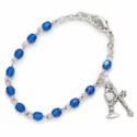3mm September Sapphire Birthstone Rosary Beads First Communion Bracelet with Chalice and Crucifix Charms